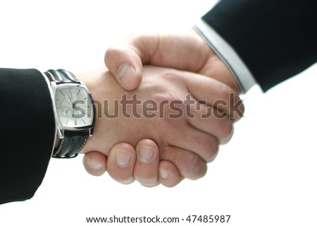 Handshake isolated on white (Warning! Low depth of field, focus on the watch) - stock photo