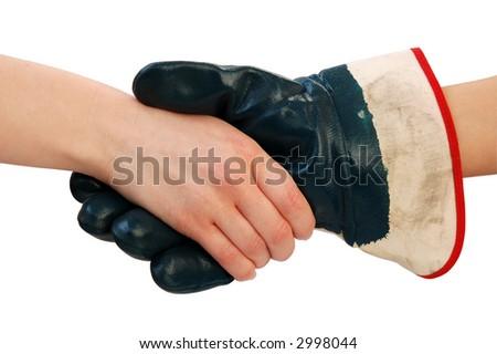 handshake isolated over white - stock photo