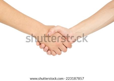handshake. Isolated white background - stock photo