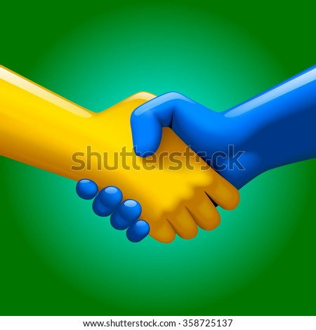 Handshake of blue and yellow artificial hands on green background. Symbol and metaphor of business partnership and high technology.  - stock photo