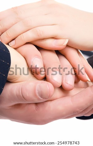 Handshake of business people, closeup - stock photo