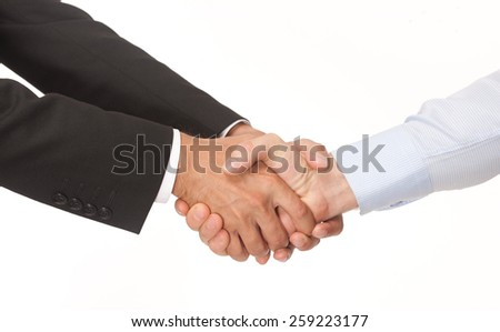 Handshake of two businesman isolated on white - stock photo