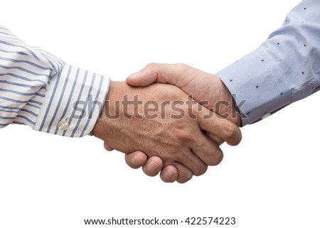 handshake of two businessmen isolated on white. Teamwork, cooperation, agreement, meeting concept - stock photo
