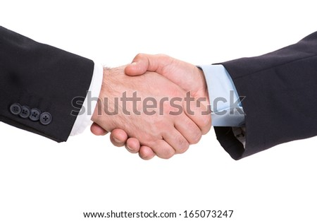Handshake of two businessmen on a white background - stock photo