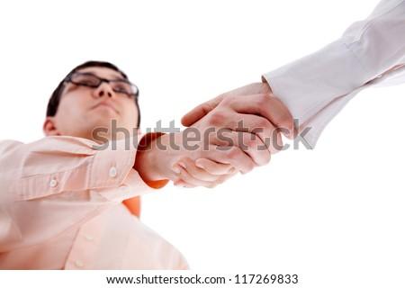 Handshake of two men - stock photo