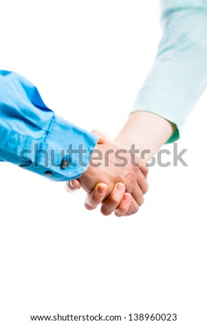 Handshake on a white background - stock photo
