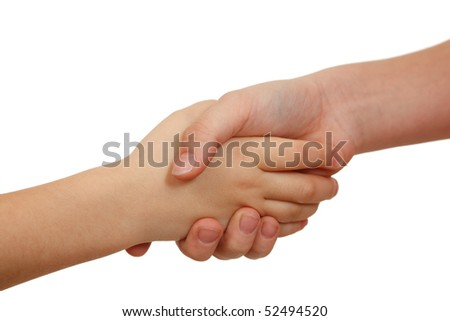 Handshake on white background. Children's hands. Close-up. - stock photo