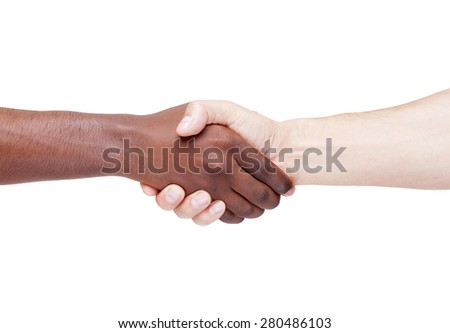 Handshake, racism concept, isolated on white background - stock photo