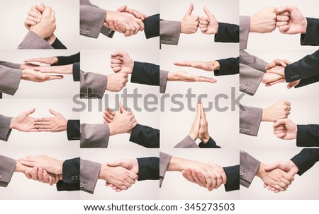 Handshake set. Different poses with two business men shaking hands - stock photo