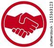 handshake symbol (handshake emblem, handshake sign) - stock photo