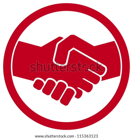 handshake symbol (handshake emblem, handshake sign) - stock photo