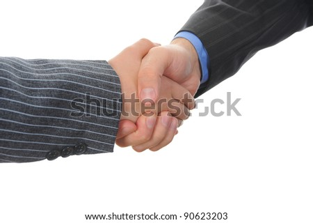 Handshake two business partners. Isolated on white background - stock photo