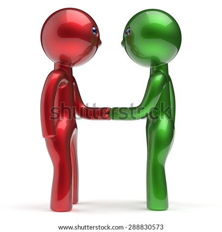 Handshake two men cartoon characters shaking hand business partners deal 2 different businessmen teamwork acquaintance agreement welcome meeting people icon concept red green. 3d render isolated - stock photo
