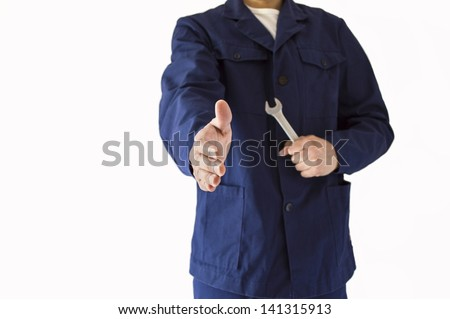 handshake with a professional company of a mechanical - stock photo