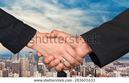 Handshake, Women, Female. - stock photo