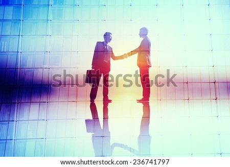 Handshaking Business Agreement Greeting Success Deal Collaboration Concept - stock photo