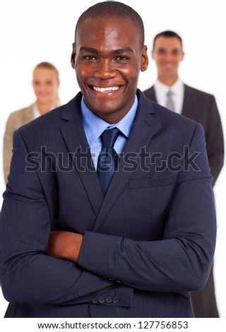 handsome african american businessman in front of team - stock photo