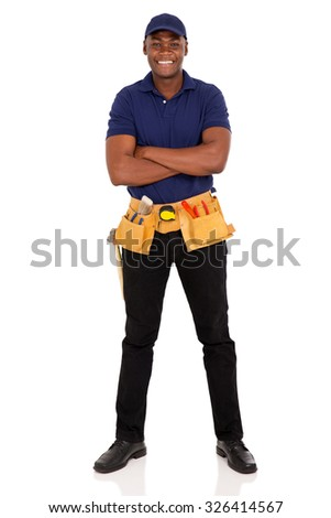 handsome afro american repairman with arms crossed - stock photo