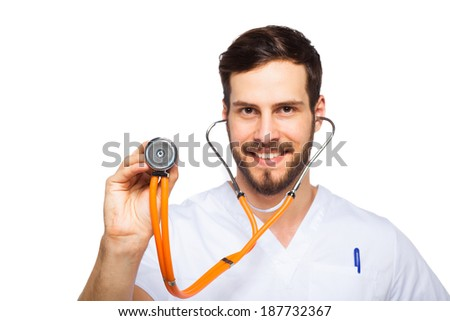 handsome and confident doctor listening with stethoscope, isolated on white - stock photo