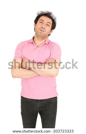 Handsome arabic man doing different expressions in different sets of clothes: bored - stock photo