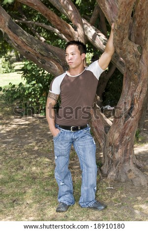 Handsome Asian man standing by a tree - stock photo