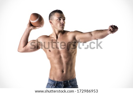 Handsome, athletic young man shirtless, throwing american football ball, isolated on white - stock photo