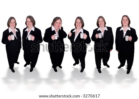 Handsome attractive businesswomen in suits with cups of coffee in hands on white background - stock photo