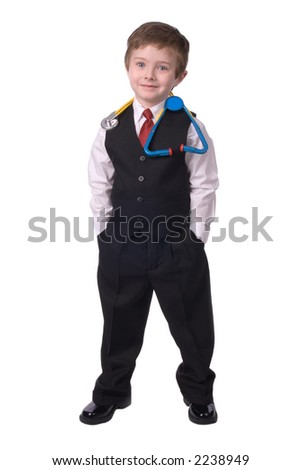 handsome attractive young boy dressed as a Doctor- in suit with stethescope on white background. - stock photo