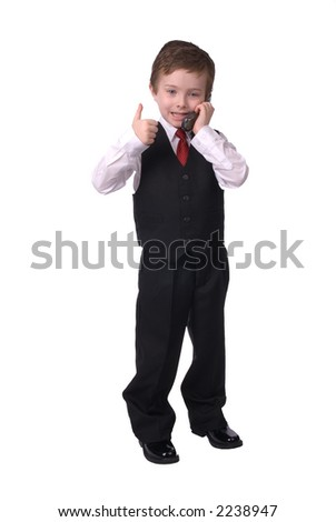 handsome attractive young boy dressed in suit with cell phone in hand, makes his point! on white background. - stock photo