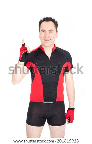 Handsome biker doing different expressions in different sets of clothes: pointing up - stock photo