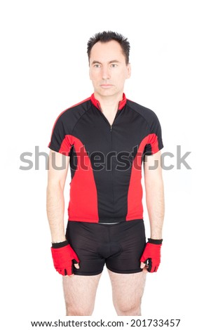 Handsome biker doing different expressions in different sets of clothes: sad - stock photo
