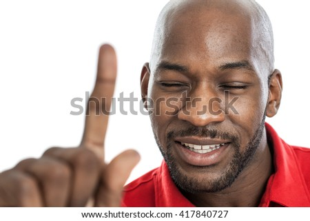 Handsome black man with eyes closed showing number one isolated on white - stock photo