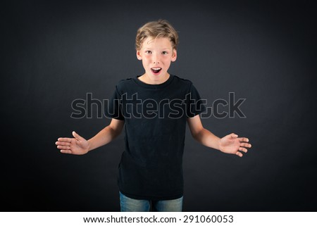 Handsome boy doing different expressions in different sets of clothes: surprise - stock photo