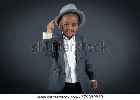 Handsome boy doing different expressions in different sets of clothes: you are crazy - stock photo