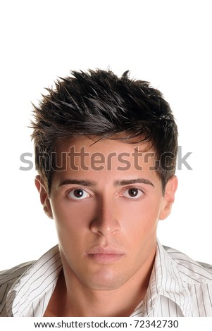 Handsome boy over 100% white background - stock photo
