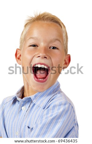 Handsome boy shouts loud. Isolated on white background. - stock photo