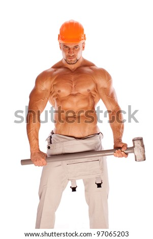 handsome builder with a sledgehammer and sexy body - stock photo