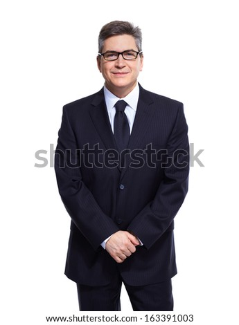 Handsome Business man isolated over white background. - stock photo