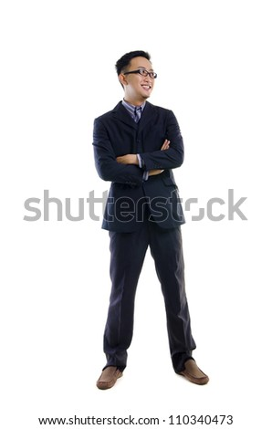 Handsome business man of Asian, full length portrait. - stock photo