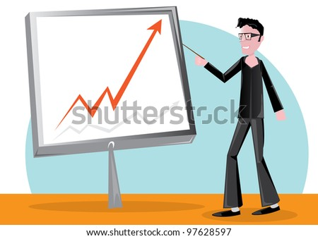 handsome business man speech on presentation. - stock photo