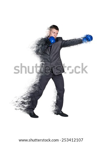 Handsome businessman boxer.  Isolated over white background - stock photo