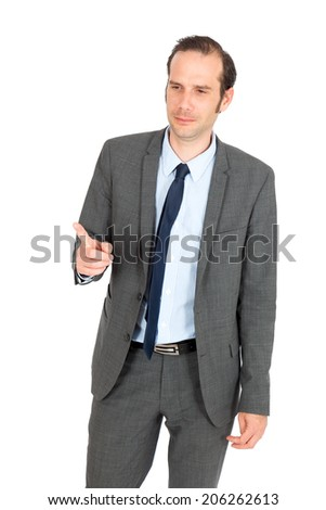 Handsome businessman doing different expressions in different sets of clothes: drunk - stock photo
