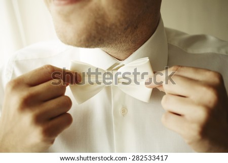 Handsome businessman fixes his bow tie - stock photo