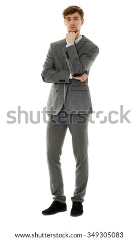 Handsome businessman full length portrait isolated on white - stock photo