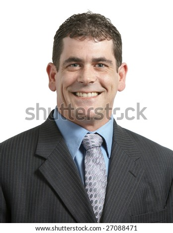 Handsome businessman in suit smiling on white background - stock photo