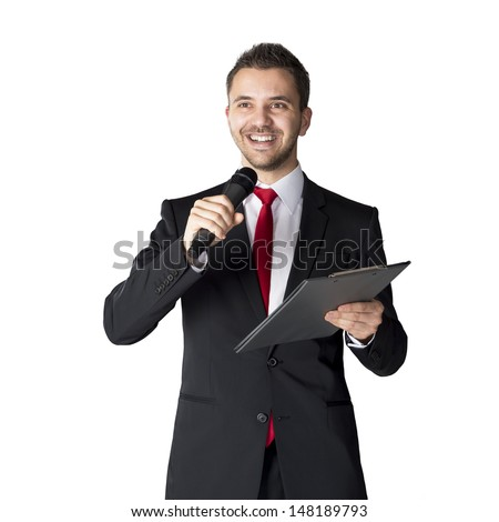 Handsome businessman is speaking on conference in hotel - stock photo