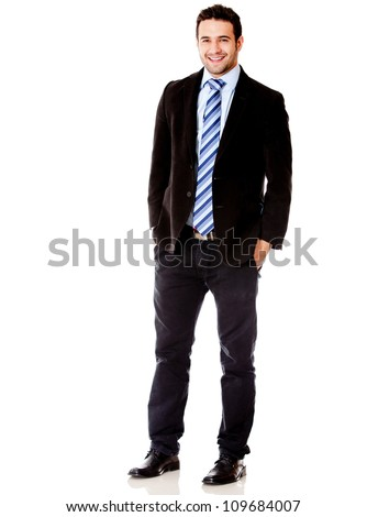 Handsome businessman smiling - isolated over a white background - stock photo