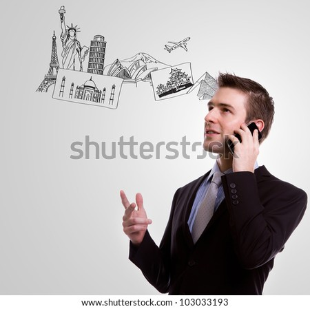 Handsome businessman using phone call over world - stock photo