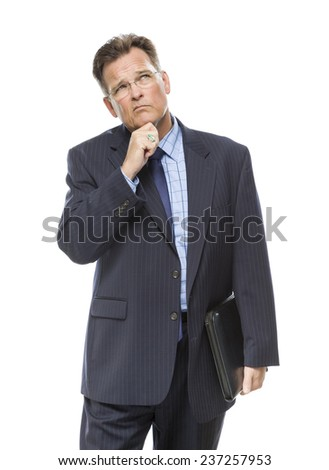 Handsome Businessman With Hand on Chin and Looking Up and Over Isolated on a White Background. - stock photo