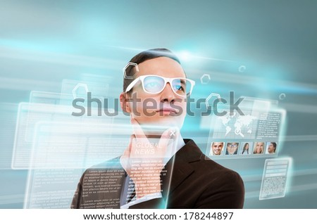 Handsome businesswoman against hightech background - stock photo